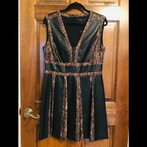 NWT Black Leather & Lace Dress